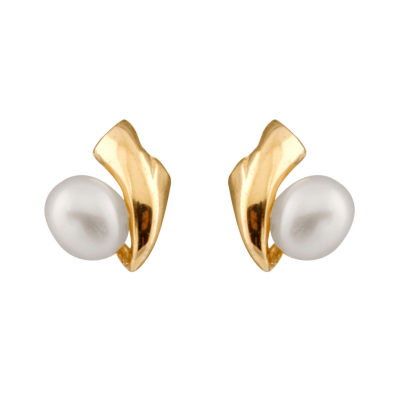 CULTURED FRESHWATER PEARLS 14K Gold 6.5mm Stud Earrings