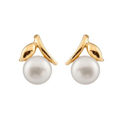 Cultured Freshwater Pearl 14K Gold 8mm Stud Earrings