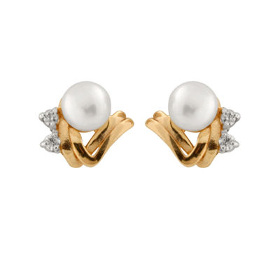 Diamond Accent Genuine White Diamond Cultured Freshwater Pearl 14K Gold 7mm Round Stud Earrings