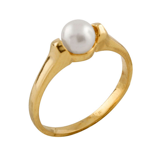 Girls 5MM Cultured Freshwater Pearl 14K Gold Delicate Band