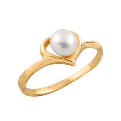 Girls 4.5MM Cultured Freshwater Pearl 14K Gold Delicate Band