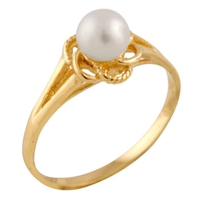 Girls 4MM Cultured Freshwater Pearl 14K Gold Delicate Ring