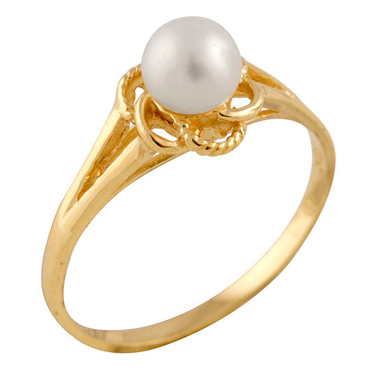 Girls 4MM Cultured Freshwater Pearl 14K Gold Delicate Band