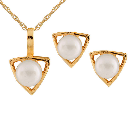 White Cultured Freshwater Pearl 14K Gold 2-pc. Jewelry Set