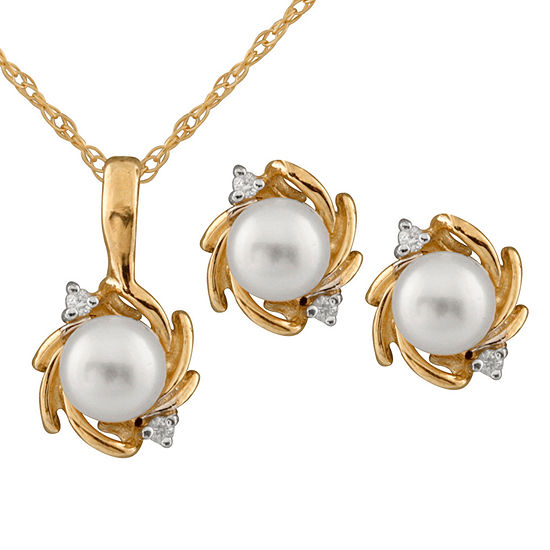 Diamond Accent Genuine White Diamond Cultured Freshwater Pearl 14K Gold 2-pc. Jewelry Set