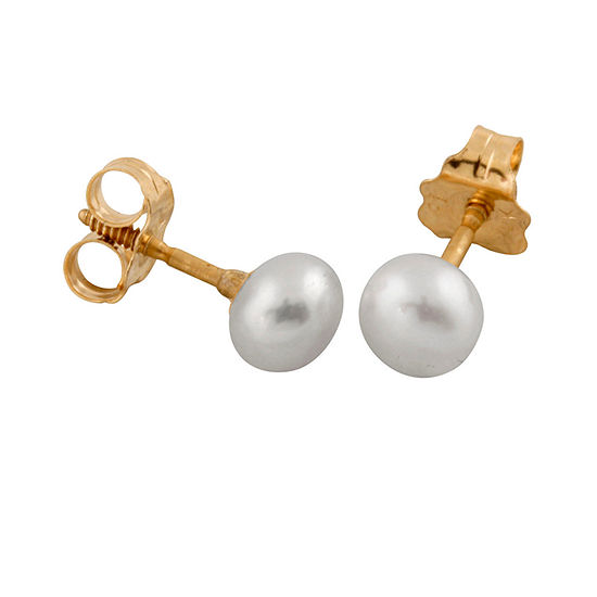 White Cultured Freshwater Pearl 14K Gold 4.2mm Round Stud Earrings