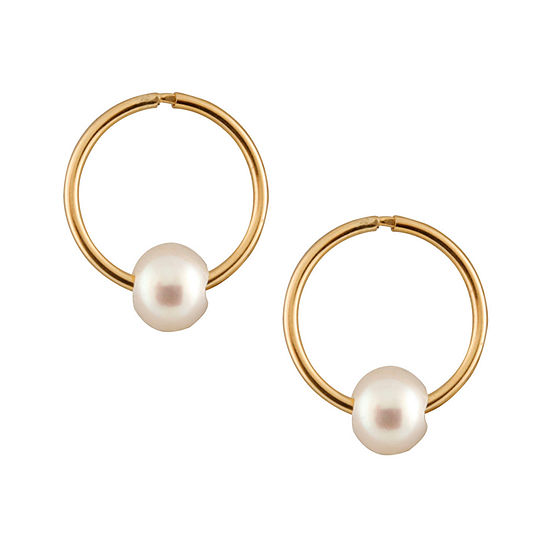 Children's White Cultured Freshwater Pearl 14K Gold 14mm Round Hoop Earrings