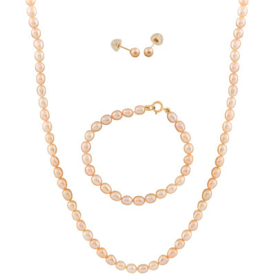 Cultured Freshwater Pearl 14K Gold 3-pc. Jewelry Set