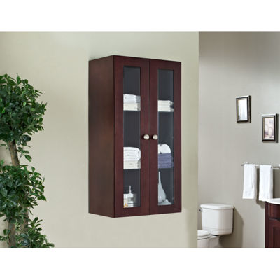 American Imaginations 23.5-in. W x 47.75-in. H Transitional Birch Wood-Veneer Wall Curio In Coffee
