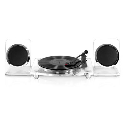 Victrola Acrylic Bluetooth 40-Watt Record Player with 2-Speed Turntable and Rechargeable Speakers
