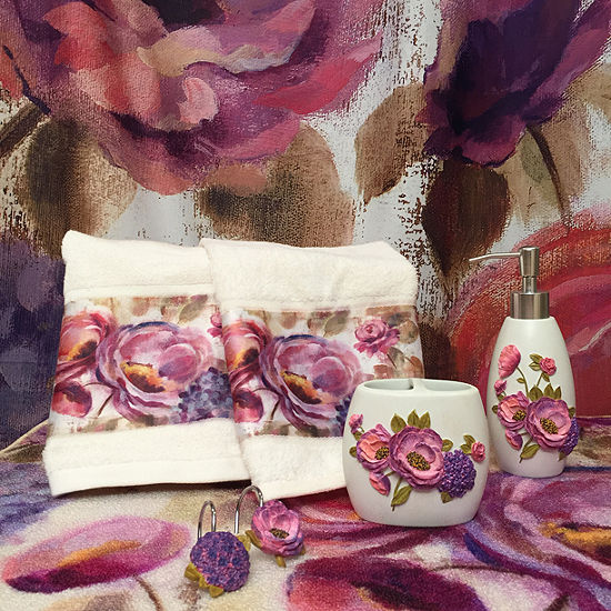 Laural Home Purple Floral Garden Bath Collection