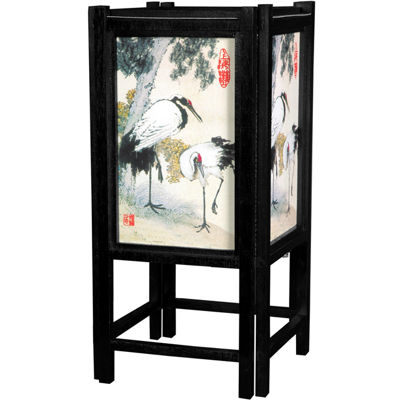 "Oriental Furniture 14"" Art Shoji Cranes Table Lamp"""