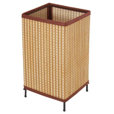 "Oriental Furniture 11"" Tatsu Japanese Square Rattan Lantern Table Lamp"""