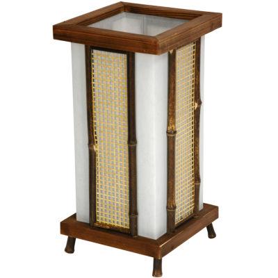 "Oriental Furniture 14"" Matsu Wood & Bamboo Shoji Lantern Table Lamp"""