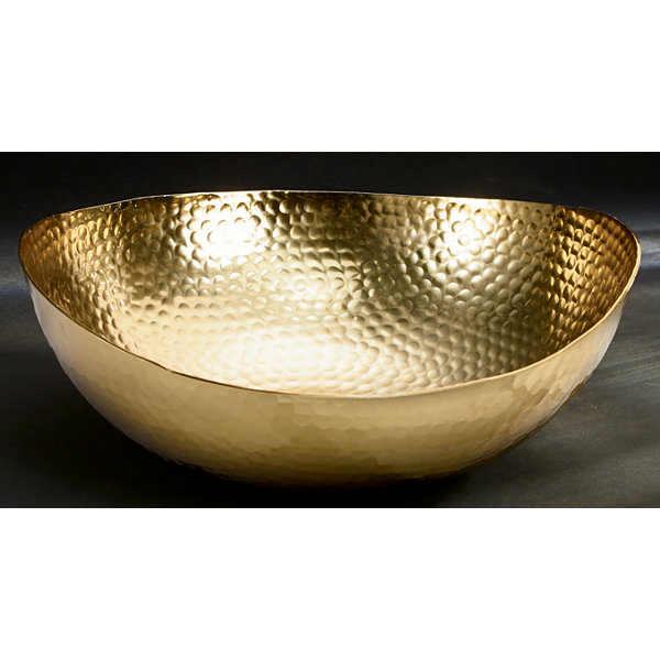 "St. Croix Trading 12"" Gilded Hammered Scalloped Bowl"