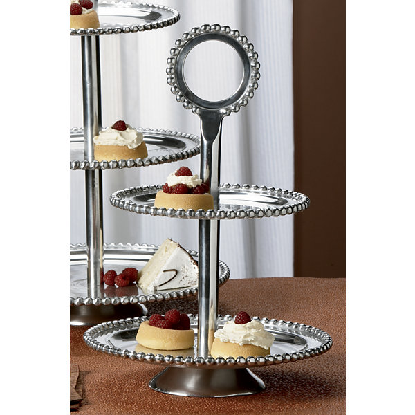 "St. Croix Trading Kindwer 18"" Imperial Beaded Two-Tier Serving Stand"