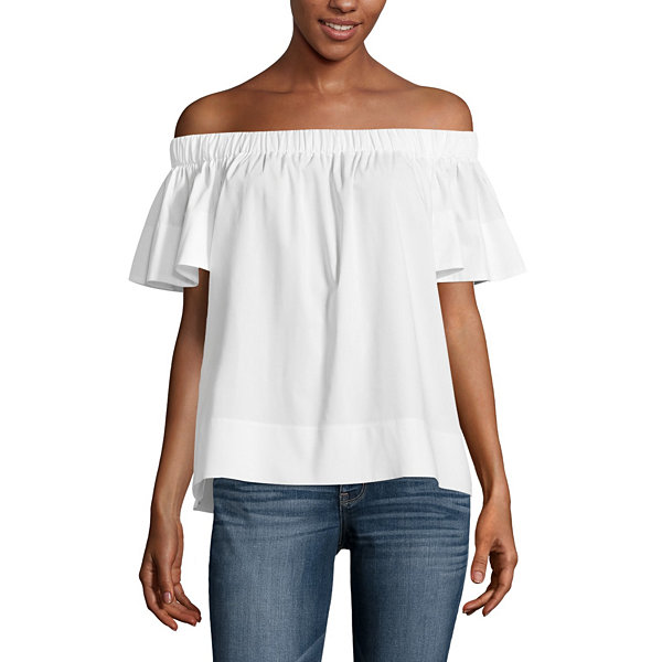 Worthington Off The Shoulder Woven Blouse