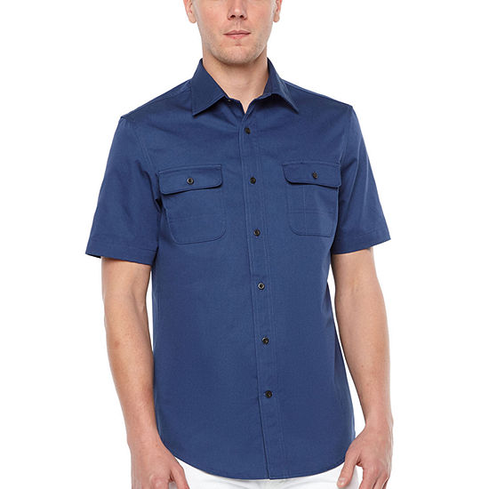 Big Mac Big and Tall Mens Short Sleeve Moisture Wicking Button-Down Shirt