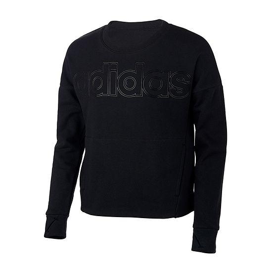 Adidas Girls Round Neck Long Sleeve Sweatshirt Preschool Big Kid