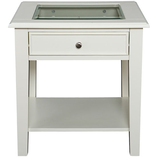 """At Home Design Glass Top Single-Drawer 22"""" End Table"""