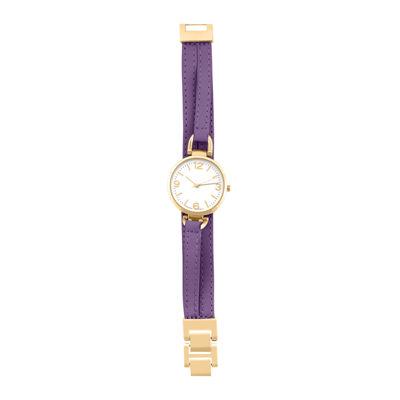Decree® Womens Purple Strap Wrap-Look Watch