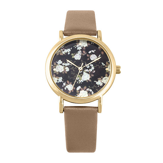 Decree® Womens Floral Dial Brown Strap Vintage-Style Watch