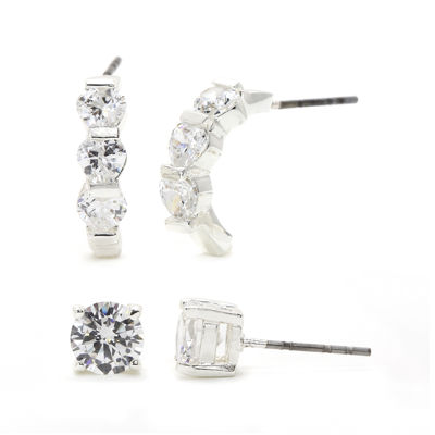 Sparkle Allure™ Cubic Zirconia Silver-Plated Brass Stud and Hoop Earring Set