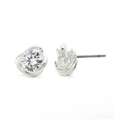 Sparkle Allure™ Cubic Zirconia Silver-Plated Brass Swirl Stud Earrings