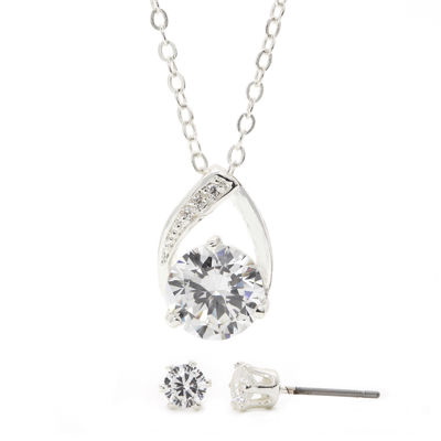 Sparkle Allure™ Cubic Zirconia Silver-Plated Brass Earring and Pendant Necklace Set