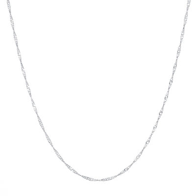 "Silver Reflections™ Silver-Plated Brass 24"" Singapore Chain"