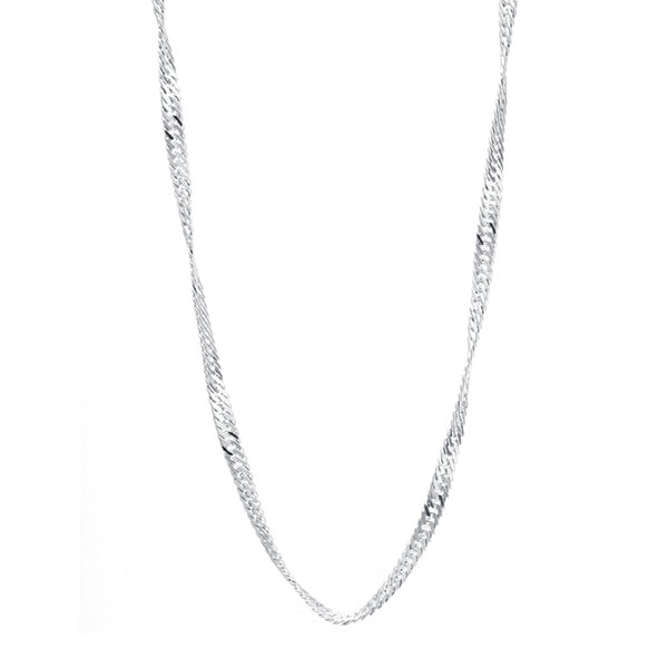 "Silver-Plated Brass 30"" Singapore Twist Chain"