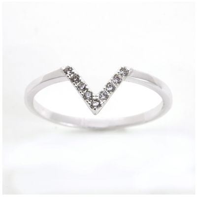 the skinny® Cubic Zirconia Silver-Plated Brass Chevron Ring