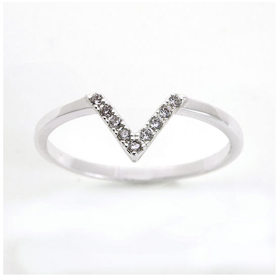 The Skinny Cubic Zirconia Silver Plated Brass Chevron Ring