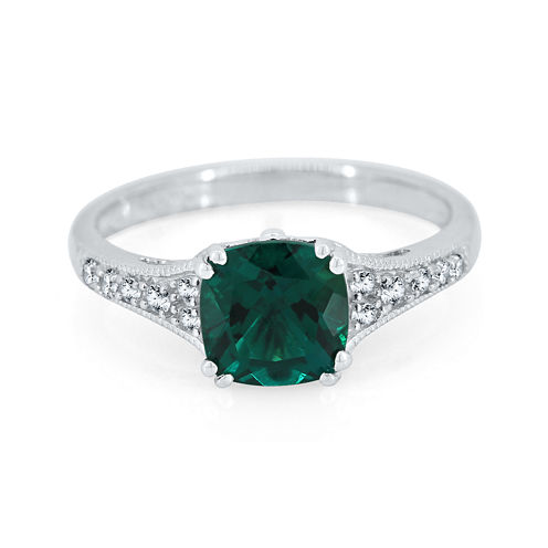 Cushion-Cut Lab-Created Emerald and White Sapphire Sterling Silver Ring