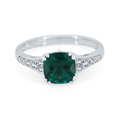 Lab-Created Emerald & Lab-Created White Sapphire Sterling Silver Ring