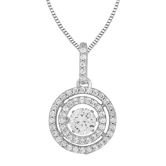 Love in Motion™ Round Lab-Created White Sapphire Double-Halo Pendant Necklace