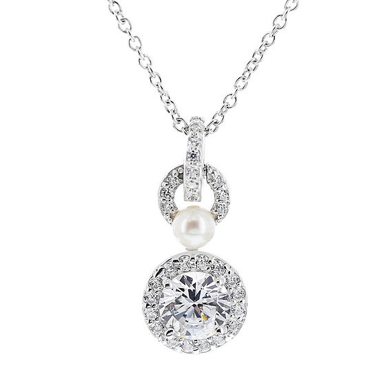 DiamonArt® Cubic Zirconia Sterling Silver Round Pendant Necklace