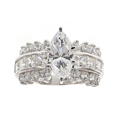 DiamonArt® Cubic Zirconia Sterling Silver Marquise-Cut Cluster Ring