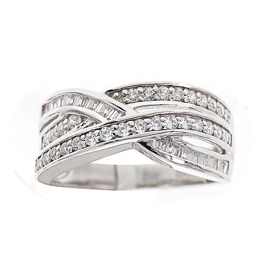 DiamonArt® Cubic Zirconia Sterling Silver Crossover Ring