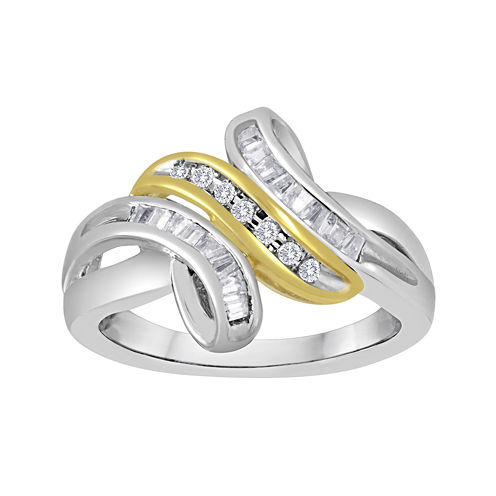 1/4 CT. T.W. Diamond Two-Tone Bypass Ring