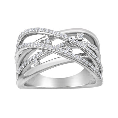 1/4 CT. T.W. Diamond Sterling Silver Crossover Ring