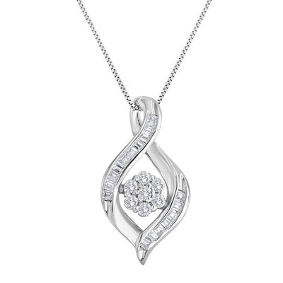 diamond blossom 1/5 CT. T.W. Diamond Cluster Sterling Silver Swirl Pendant Necklace