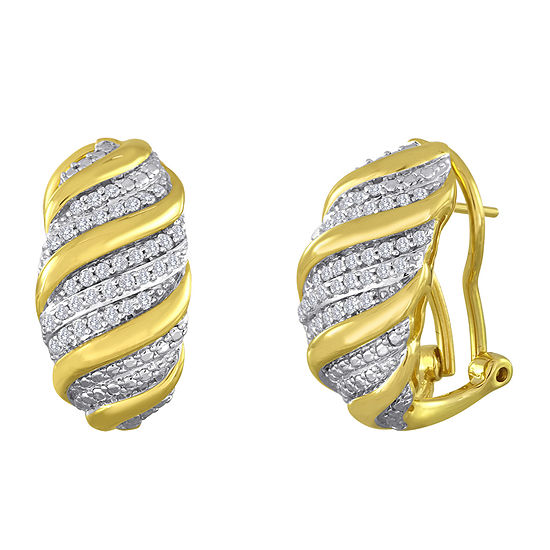 1/2 CT. T.W. Diamond Swirl 14K Yellow Gold Over Sterling Silver Earrings