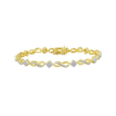 1/10 CT. T.W. Diamond 14K Yellow Gold Over Sterling Silver Infinity Bracelet