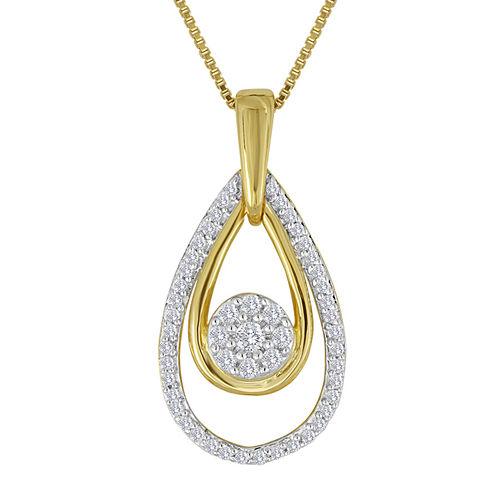 diamond blossom 1/4 CT. T.W. Diamond Cluster Double-Teardrop Pendant Necklace