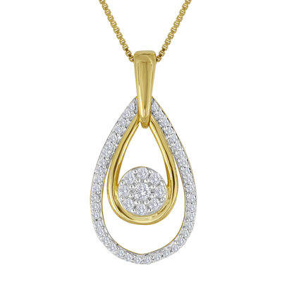 diamond blossom 1/4 CT. T.W. Diamond Cluster Double-Teardrop Pendant Necklace