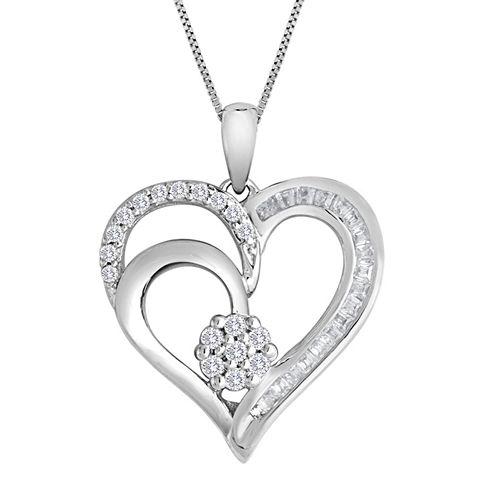 diamond blossom 1/4 CT. T.W. Diamond Cluster Sterling Silver Heart Pendant Necklace