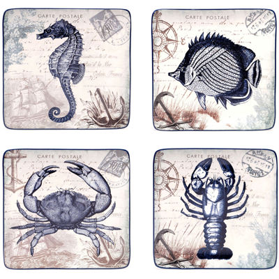 Certified International Coastal Postcards Set of 4 Dessert Plates
