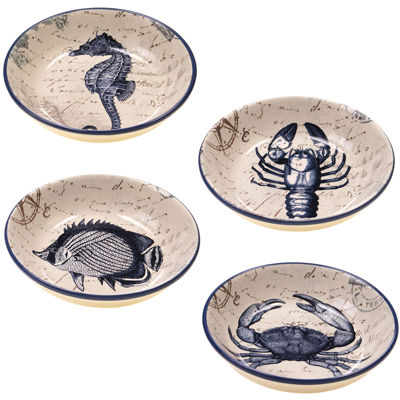 Certified International Coastal Postcards Set of 4 Pasta Bowls