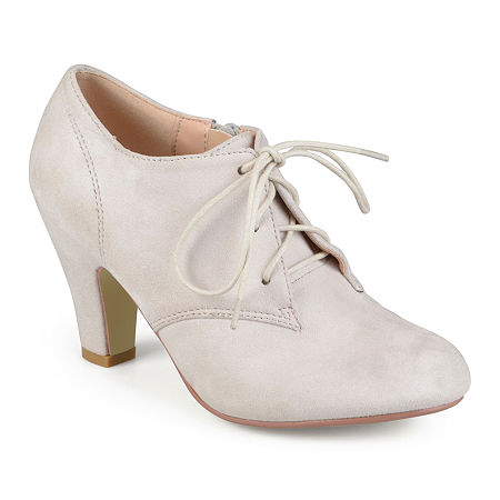 Vintage Heels, Retro Heels, Pumps, Shoes Journee Collection Womens Leona Booties Cone Heel 11 Medium Beige $45.50 AT vintagedancer.com